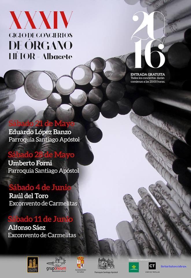 Conciertos Órganos históricos de Liétor 2016 - Cartel