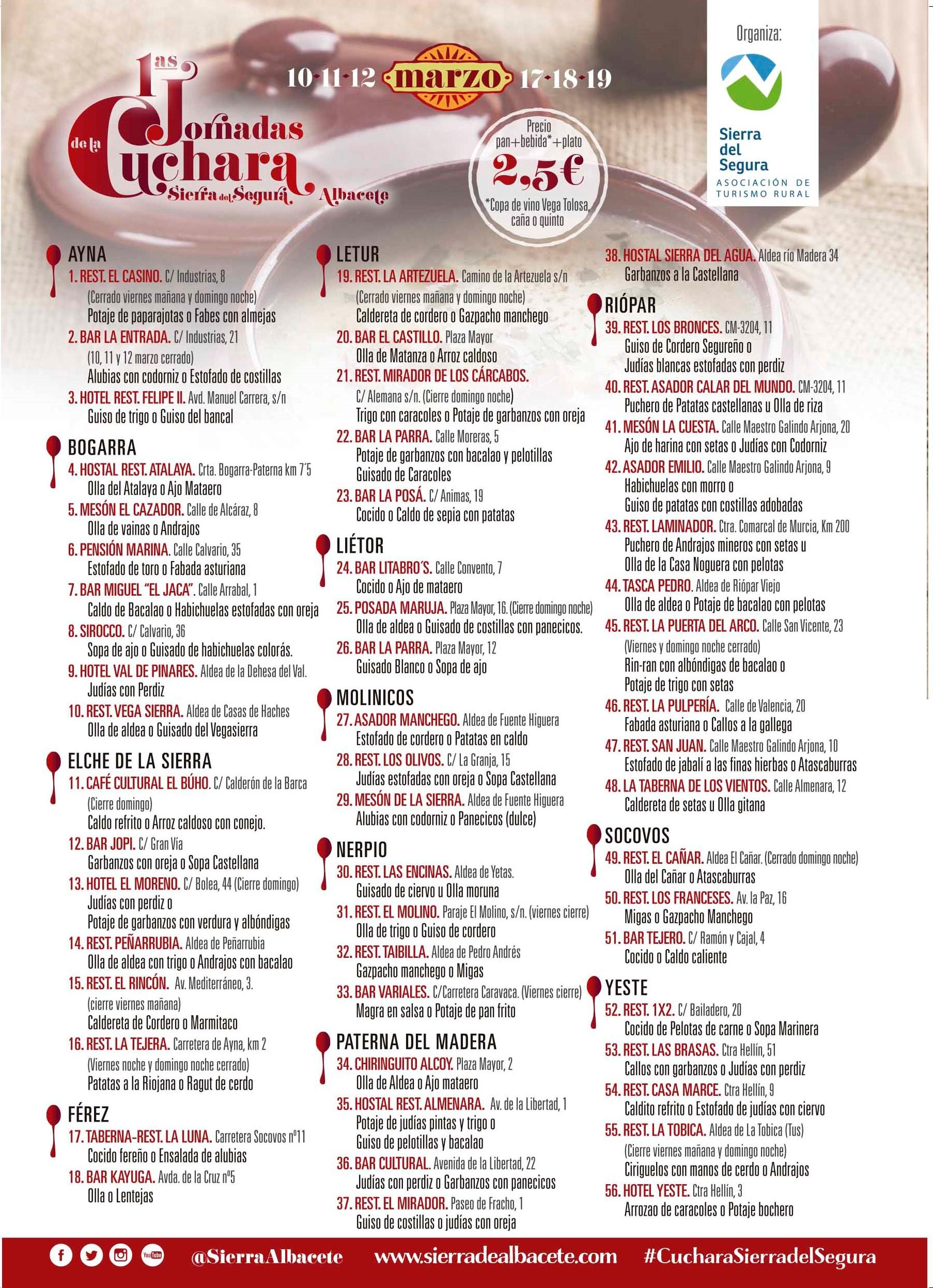 I Jornadas de la Cuchara Sierra del Segura - Participantes